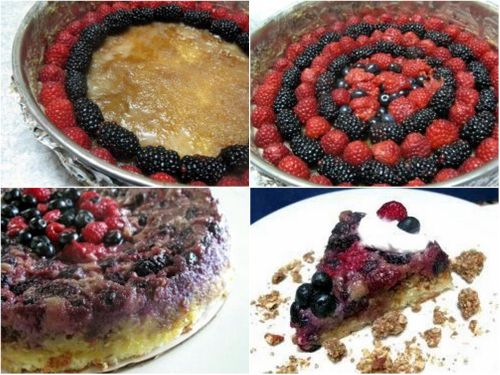 Triple Berry Granola Upside-Down Cake