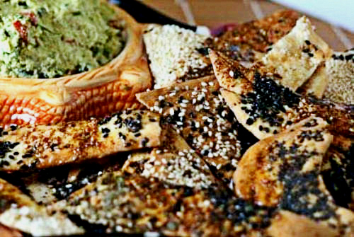 Loaded Lavash Crackers (with a Gluten Free Option) with Chunky Edamame Vegetable Hummus
