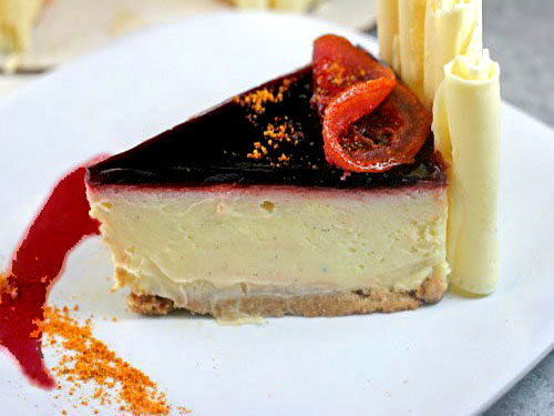 White Chocolate Blood Orange Cheesecake with a Salted Cashew Ginger Graham Cracker Crust and a Deconstructed version of it as Parfaits using cheesecake mousse!