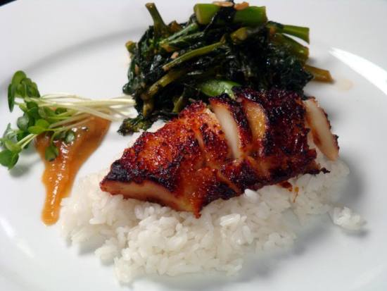 A take on Nobu's Black Cod with Miso Glaze, plus Gai Lan (Chinese Broccoli) with garlic, sesame oil and chili flakes! The most delicious cod dish around!