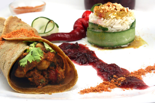 Indian Dosas with Curried Garbanzo (Chickpea) Filling, Plum Chutney, red chile-peanut chutney. 100% Vegan.