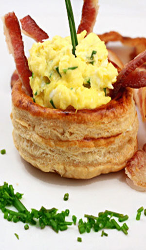 Sour Cream and Chive Scrambled Eggs with Bacon in Puff Pastry Vols-Au-Vents.
