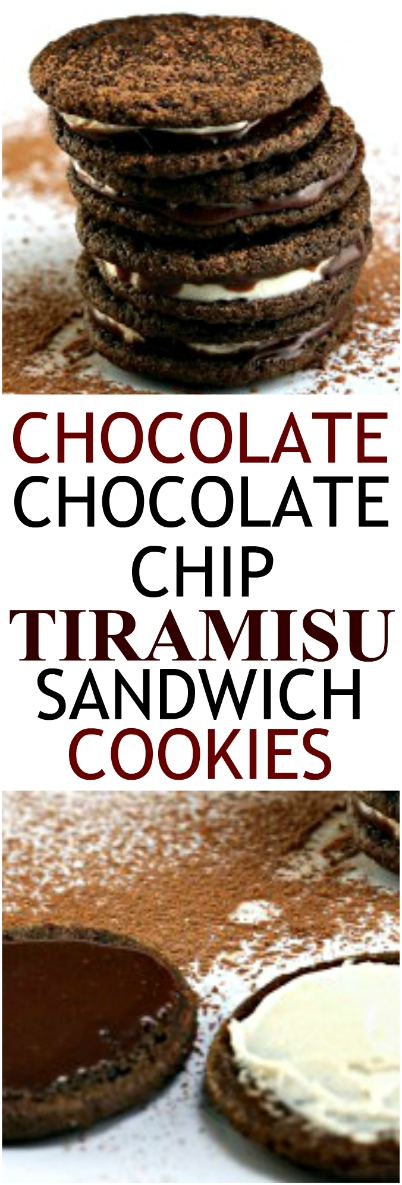 Chocolate Chocolate Chip Tiramisu Sandwich cookies! One side is the creamy mascarpone mixture you love in a tiramisu; the other side is a rich coffee chocolate ganache! Pure tiramisu in a delicious chocolate chocolate chip cookie sandwich (with or without liqueur! #tiramisu #chocolatecookies #chocolatechips #mascarpone #coffee #liqueur #ganache