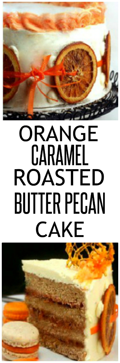 Tender, fluffy and moist roasted butter pecan cake with an orange caramel filling that tastes like the best orange candy ever. Oh, and the white orange frosting is pretty good too! #orangecake #butterpecancake #butterpecan #orange #cake #orangepecan