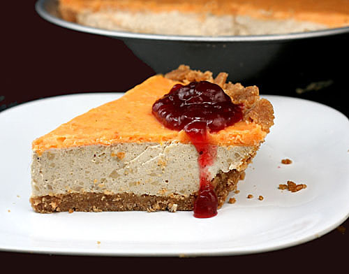 Brown Butter Custard Pie with Cinnamon Toast Crumb Crust, Sweet Potato Ganache and a Touch of Cranberry