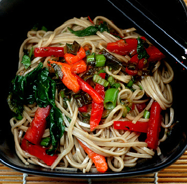 Garlic Soba Noodles with Caramelized Vegetables and Tempura Egg