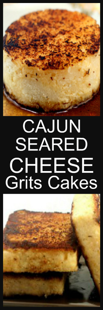 Homemade Cheese Grits Cakes seared with Cajun Seasoning. I've never had grits so delicious!! #grits #cheesegrits #cheesegritscakes #cheese