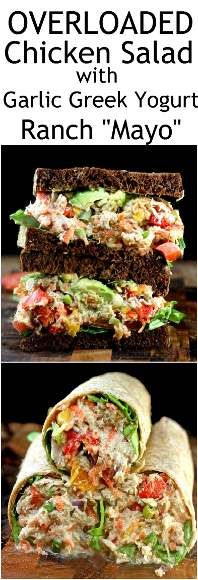 "OVERLOADED Chicken Salad (or Tuna Salad) with Creamy Garlic Greek Yogurt Ranch ""Mayo"". Everyone goes crazy for this!! I can never make enough! #chickensalad #tunasalad #GreekYogurt #Mayo #GarlicRanch #chicken #tuna"