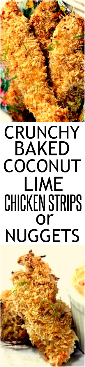 These Crunchy Coconut Key Lime Oven Fried Chicken Strips aka Chicken Fingers aka Chicken Nuggets, are so perfectly crunchy/crispy,they taste deep-fried! Also, a recipe for Spicy Greek Yogurt Dip to go along with it if you like to dip! #chickenstrips #chickenfingers #chickennuggets #keylime #coconut #baked #lime #chicken #crunchy #greekyogurtdip