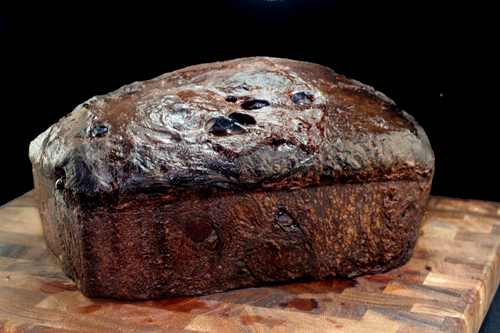 Black Forest Soaked Cherry Dark Chocolate Chunk Bread with Whipped Vanilla Bean Cream Cheese