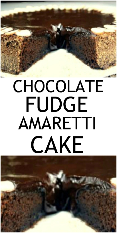 Chocolate Fudge Amaretti Cake. Crunchy Italian Amaretti cookies inside out of a perfect, fudgy, dense, chocolate cake. It's so hard to eat just one slice! #chocolateamaretticake #chocolatecake #Amaretticookies #Amaretti #Almonds #cake