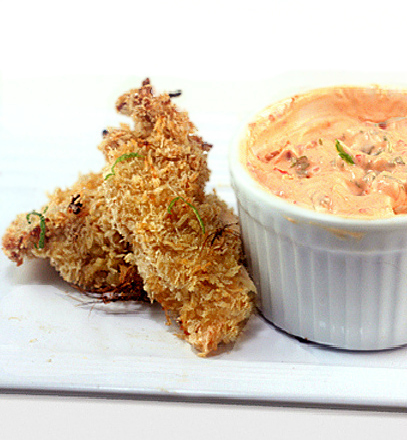 Crunchy, Baked Coconut Lime Chicken Strips with Spicy Yogurt Dip