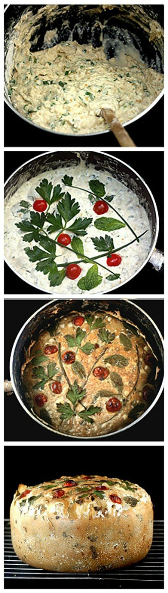 All In One Pot No-Knead Artisan Bread recipe. Mixed, Risen and Baked in One Pot! The only work you do is stirring the dough ingredients together in the pot! Add in whatever you like. I mixed in bulgur wheat, lemon zest, scallions and garlic for a Tabbouleh Salad Bread!