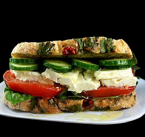 Feta, Cucumber, Tomato, Lettuce and Lemon Pepper Olive Oil on Homemade Tabbouleh Bread
