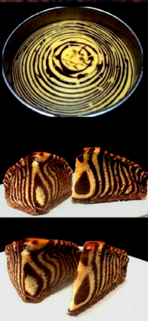 Zebra Stripe Cake! Learn how to make this super moist, delicious Chocolate and Vanilla Greek Yogurt (or sour cream) Zebra Stripe Cake! It's super easy!