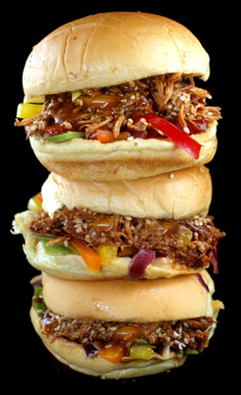 Crockpot Pulled CHINESE Sesame Chicken Sliders with Bell Pepper Slaw