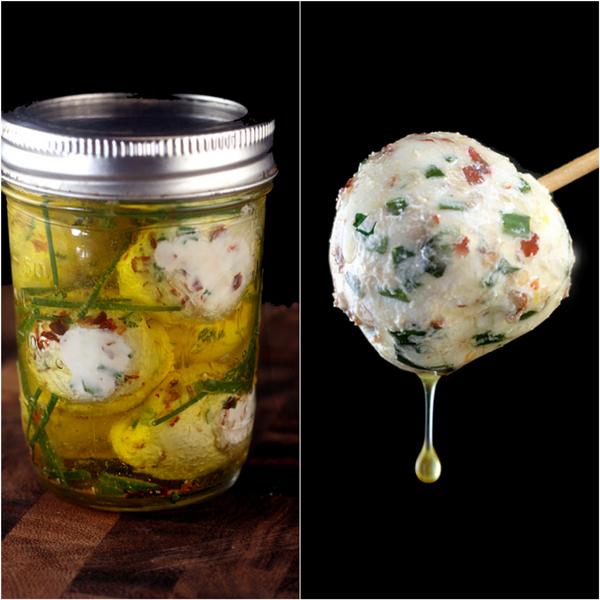 Marinated Fresh Garlic-Herb Mini Cheese ORBS!