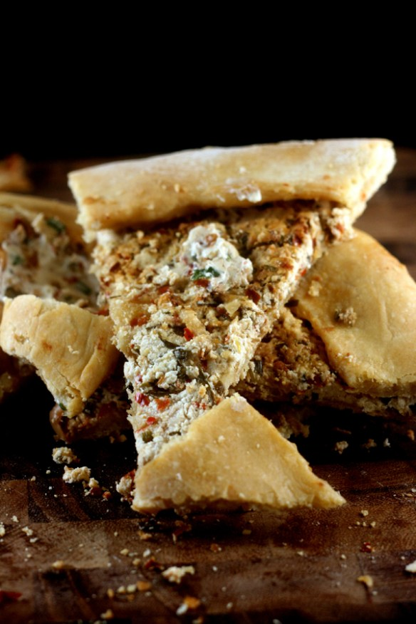 Turkish Pide (flatbread) filled with fresh, homemade chevre cheese!
