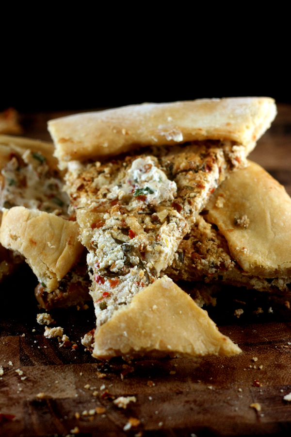 Turkish Pide (flatbread) filled with fresh, homemade ,caramelized, herbed chevre cheese!