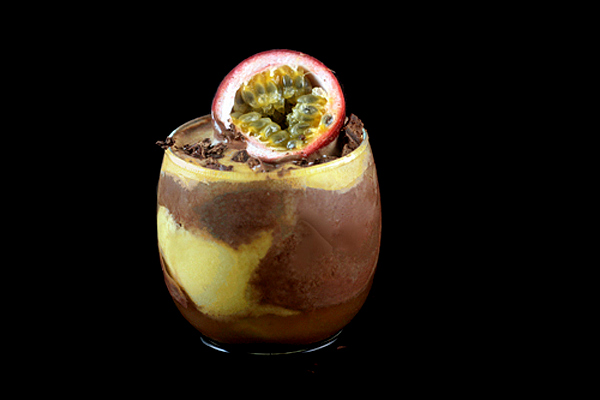 Chocolate Ice Cream - Passion Fruit Sorbet Champagne Floats