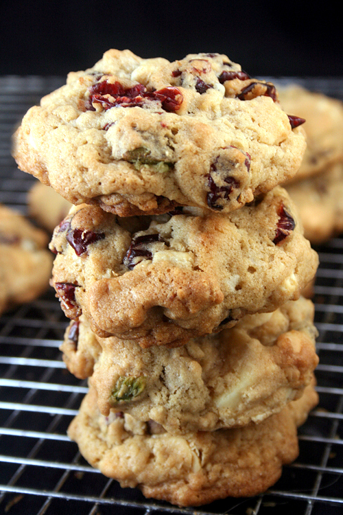 White and Dark Chocolate Cranberry Salted Pistachio Drop Cookies