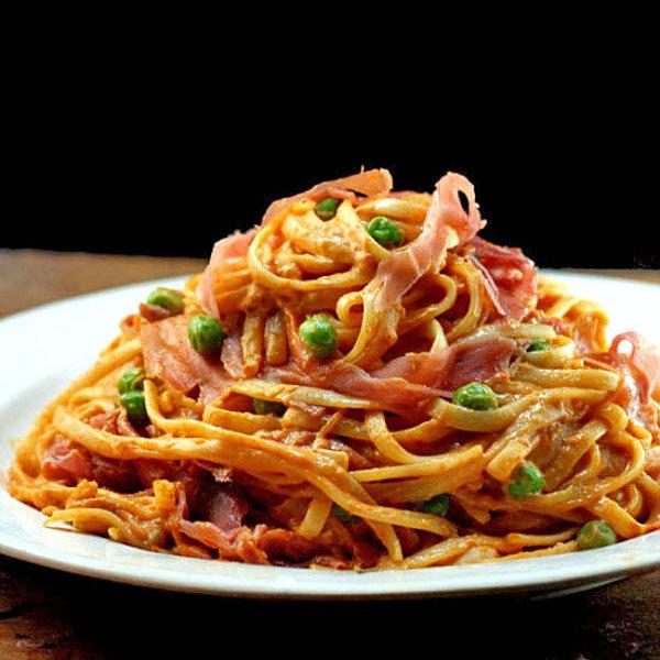 Creamy Tomato Parmesan Linguine with Peas and Prosciutto
