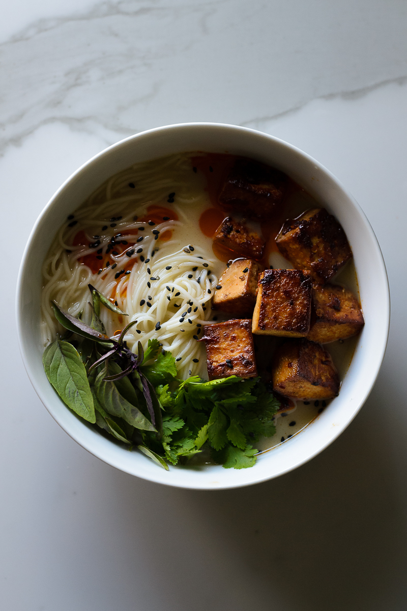Vegan Thai Coconut Curry Soup with Spicy Sesame Tofu