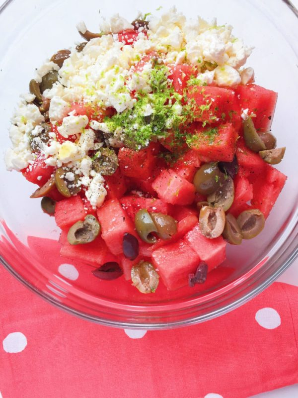 watermelon, feta and olive salad