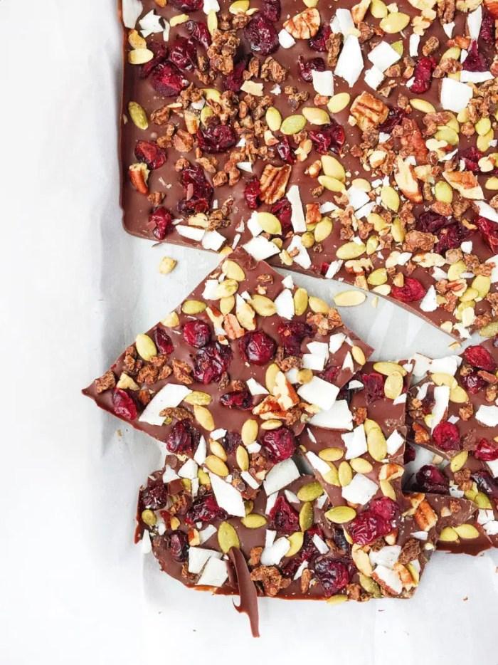 cranberry pepita cocao nib chocolate bark