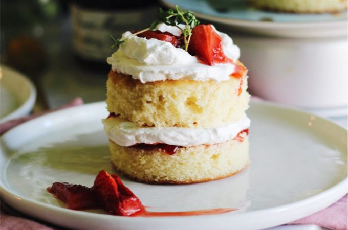 Mini Lemon Cakes with Thyme, Roasted Strawberries, and Whipped Crème Fraîche