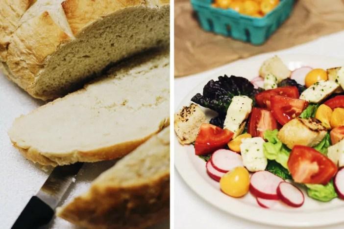 Cheese Curd Panzanella Salad