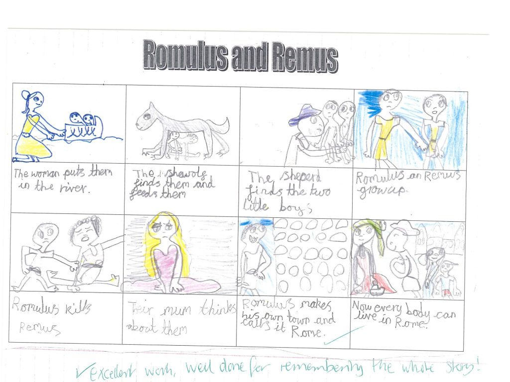 hight resolution of their topic this term is romans they listened to the story of romulus and remus all about the birth of rome
