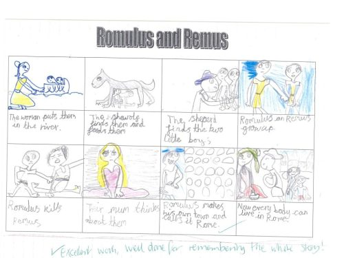 small resolution of their topic this term is romans they listened to the story of romulus and remus all about the birth of rome
