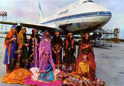 Iranian Airline Stewardesses wearing traditonal Iranian costume