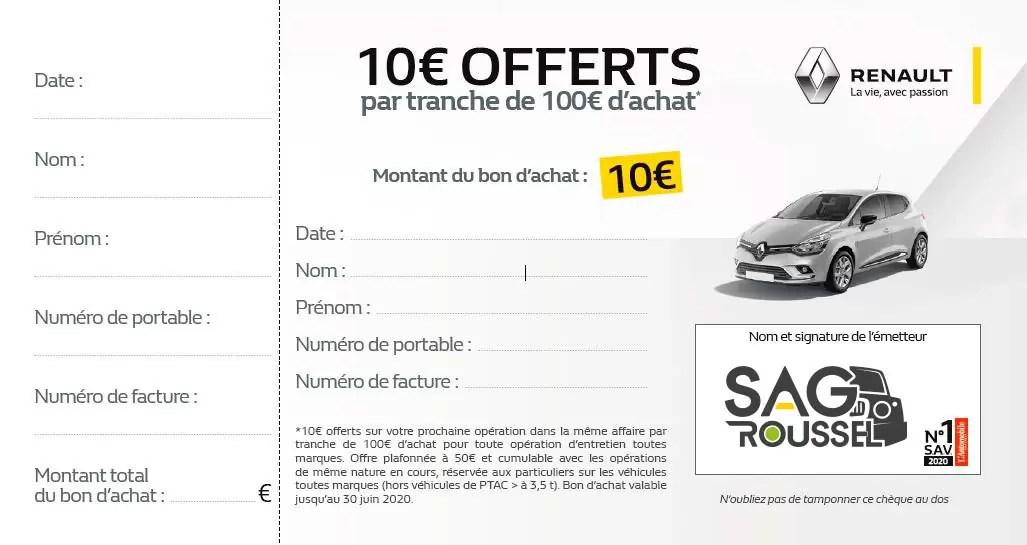 Bon d'achat de 10€ offerts par tranche de 100€ d'achat effectué chez SAG Roussel