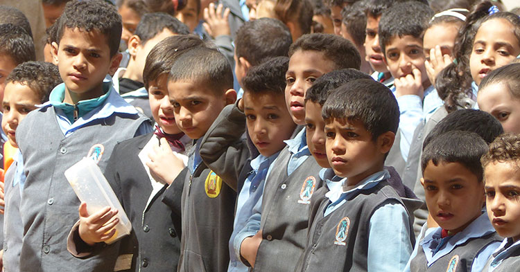 Des élèves en Egypte
