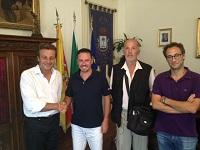 Da sinistra: il Sindaco Errante, Michelangelo Aniello, il Presidente Stallone, il Vice-sindaco Campagna