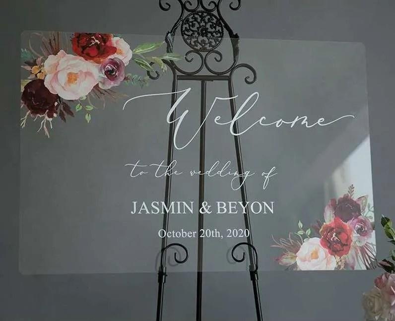 Cartelli Plexiglass tableau de mariage YK009