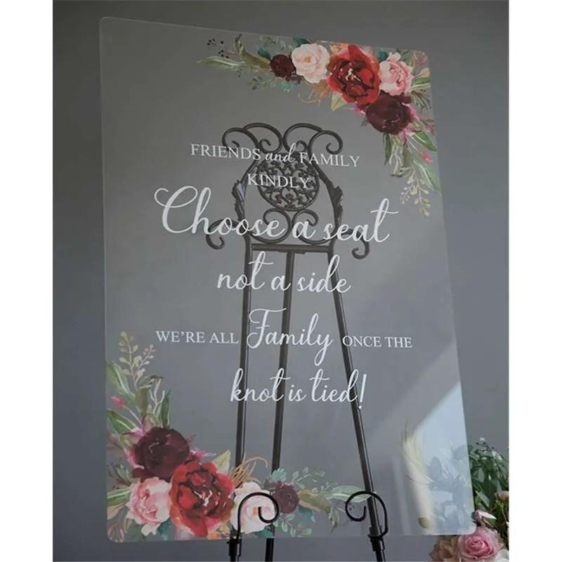 Cartelli Plexiglass tableau de mariage YK018_3