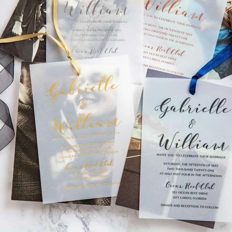 Invito a nozze moderno in carta trasparente a doppio strato WDV0001_2
