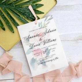 Invito di nozze romantico floreale in carta trasparente WDV0003_2