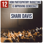 Crowd of people with some raising their hands. Caption: How Participatory Budgeting is Improving Democracy, Shari Davis