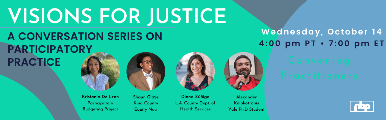 Visions for Justice: A conversation series on participatory practice. Convening practitioners.
