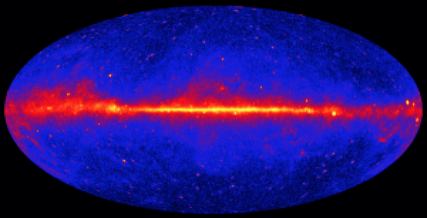 The Fermi-LAT provides an all-sky counts map of gamma-rays. The color scale correspond to the number of detected photons. Image: http://svs.gsfc.nasa.gov/cgi-bin/details.cgi?aid=10887
