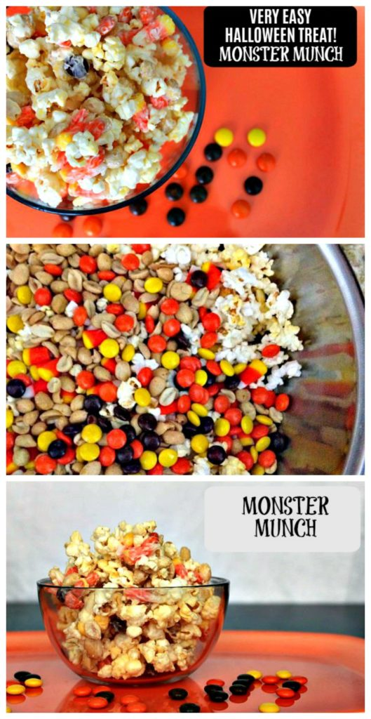 If you need an easy to make Halloween treat for treat bags, a class party or for your kids just because; this Monster Munch recipe is perfect.