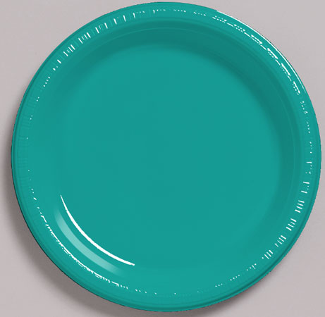 Solid Tropical Teal Plastic Dessert Plates 20pk