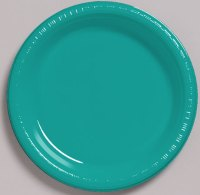 Solid Tropical Teal Plastic Dessert Plates 20pk