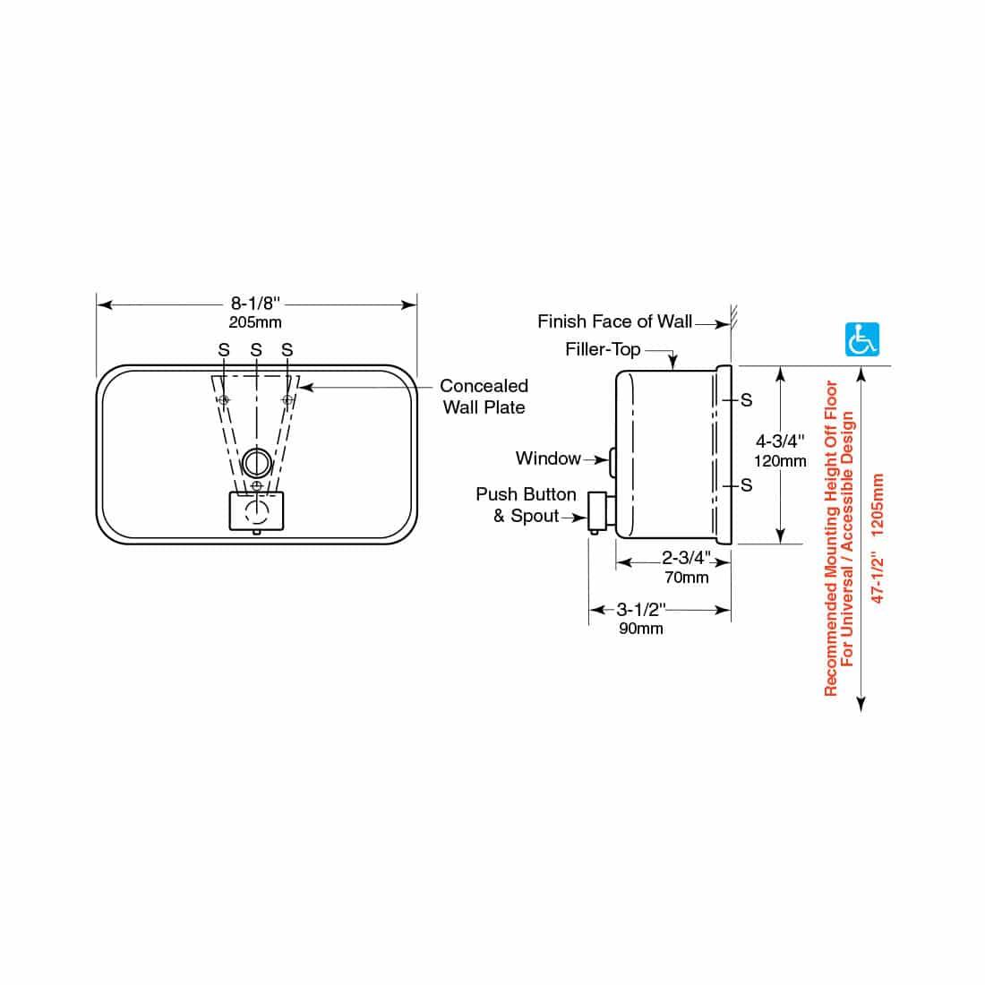 Bobrick Classic Surface Mount Soap Dispenser B-2112
