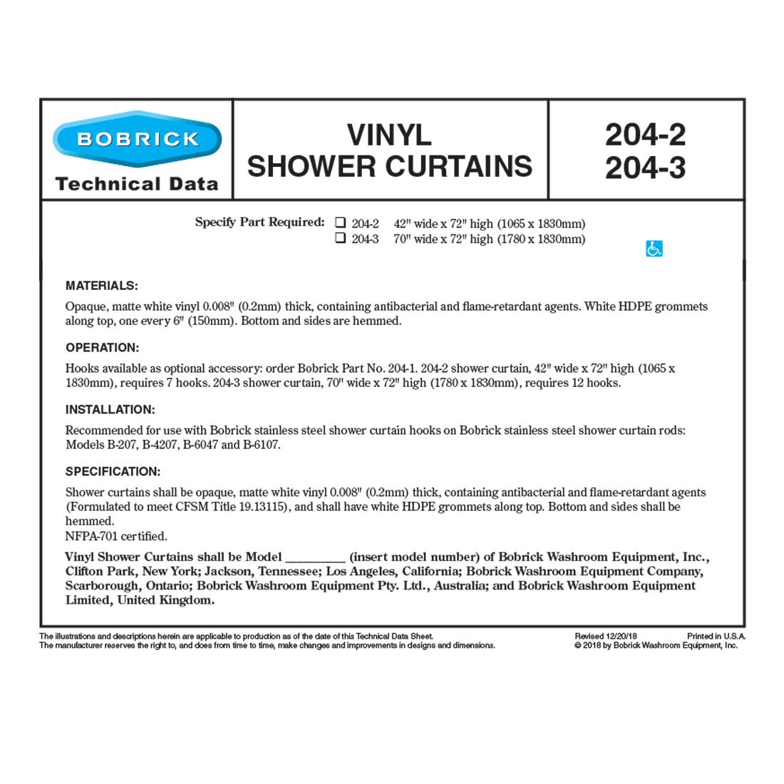 bobrick vinyl shower curtain 204 2