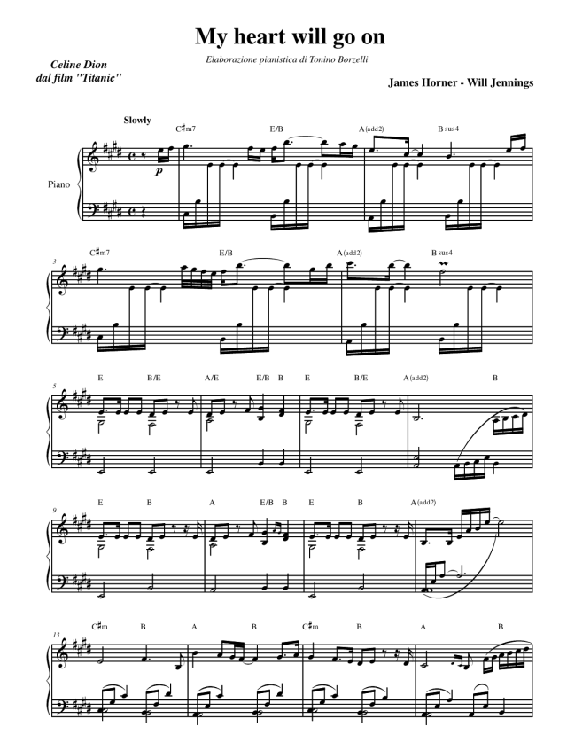 "La partitura di ""My heart will go on"" (Titanic) per pianoforte"
